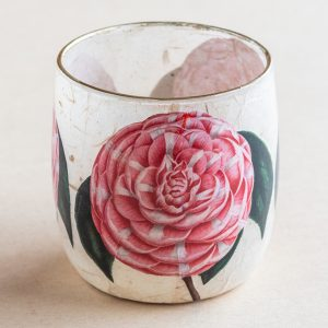 T light holder decoupage glass pink camellia