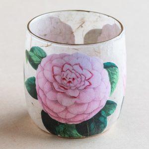T light holder decoupage glass  pink rose