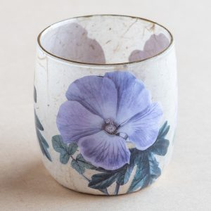 T light holder decoupage glass purple pansy