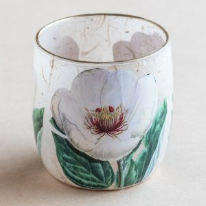 T light holder decoupage glass white poppy