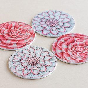 coasters flowers pink 3