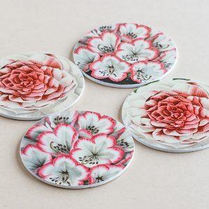 coasters flowers pink