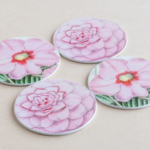 coasters flowers pink 2