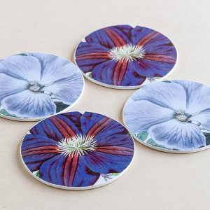 coasters flowers purple 3