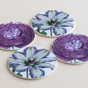 coasters flowers purple
