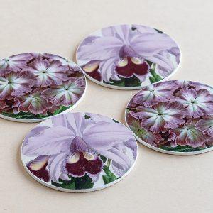 coasters flowers purple 2