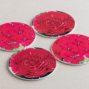 coasters flowers red 2