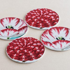 coasters flowers red