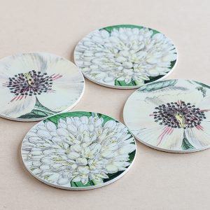 coasters flowers white 3