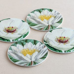 coasters flowers white 2