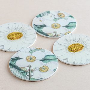coasters flowers white