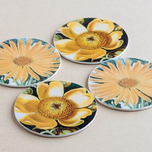 coasters flowers yellow