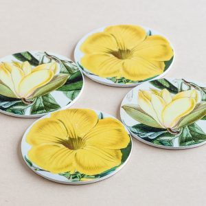 coasters flowers yellow 3