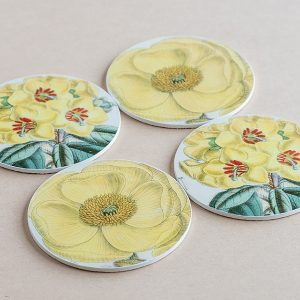 coasters flowers yellow 2