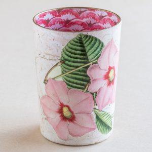 decoupage desk pot glass pink  dipladenia