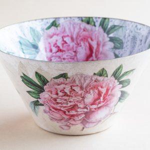Decoupage Glass Bowl pink camellia
