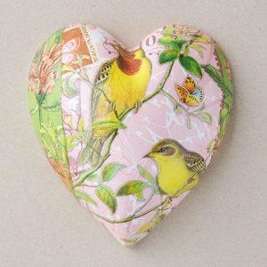 Heart Hanging Birds Yellow Pink