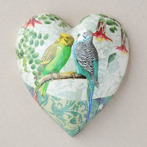Heart Hanging Budgies