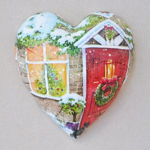 Heart Hanging Christmas Door Red