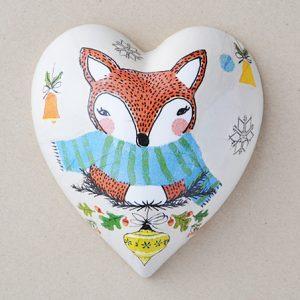 Heart Hanging Christmas Fox