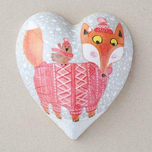Heart Hanging Christmas Fox Orange