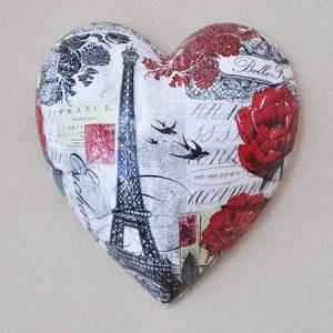 Heart Hanging Eifel Tower Red