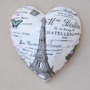 Heart Hanging Eifet Tower Black White