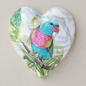 Heart Hanging Parrot Turquoise Pink
