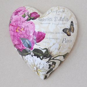 Heart Hanging Roses Cream Pink