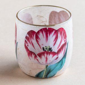 T light holder decoupage glass red tulip