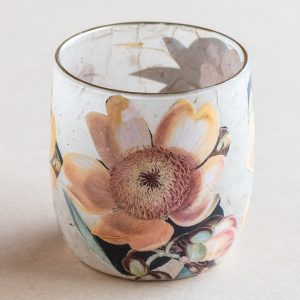 T light holder decoupage glass yellow cotton tree flower
