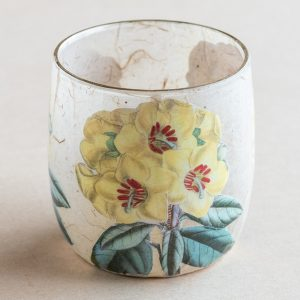 T light holder decoupage glass yellow primrose