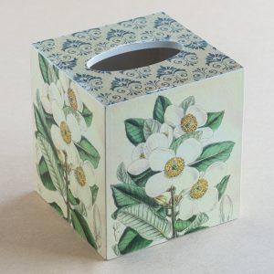 Tissue Box Cover Bush Flower Botanical White