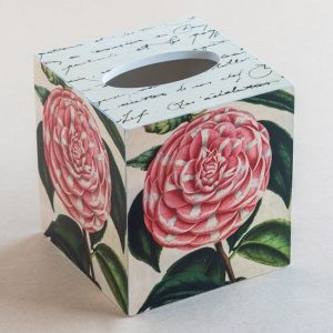Tissue Box Cover Camellia Botanical Pink