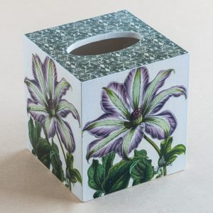 Tissue Box Cover Clematis Botanical Purple