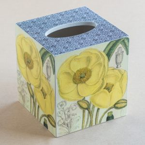 Tissue Box Cover Poppy Botanical Yellow