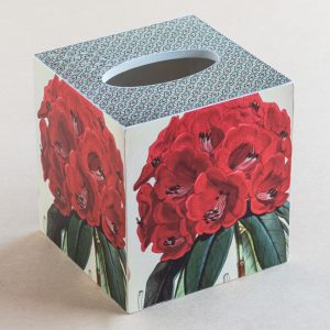 Tissue Box Cover Rhodonendron Botanical Red