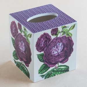 Tissue Box Cover Rose Botanical Purple