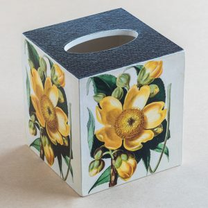Tissue Box Cover cotton tree flower botanical yellow