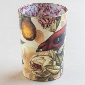 decoupage desk pot glass birds