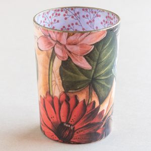 decoupage desk pot glass lillies