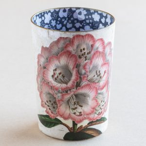 decoupage desk pot glass pink  rhododendron