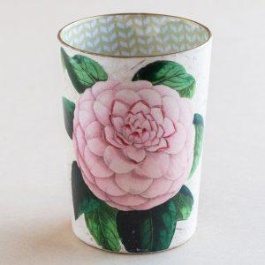 decoupage desk pot glass pink rose