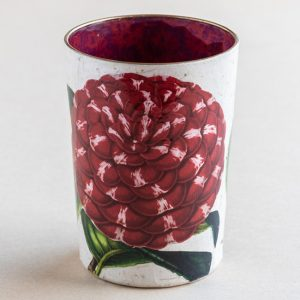 decoupage desk pot glass red  camellia