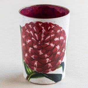 decoupage desk pot glass red  camellia