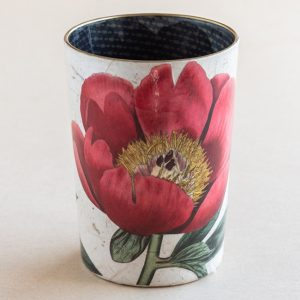 decoupage desk pot glass red  poppy