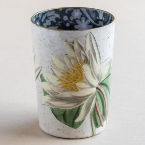 decoupage desk pot glass white lillies