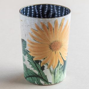 decoupage desk pot glass yellow  daisy