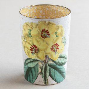 decoupage desk pot glass yellow primrose