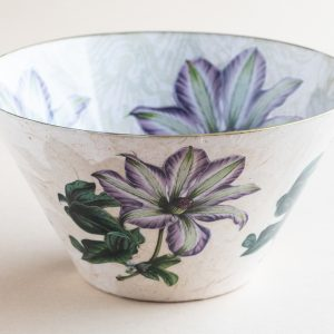 Decoupage Glass Bowl purple clematis internal